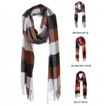 AO5041 Color-block Pattern Oblong Scarf (DZ)