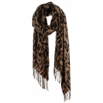 AO5043 Leopard Pattern Oblong Scarf, Brown