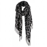 AO5043 Leopard Pattern Oblong Scarf, Grey