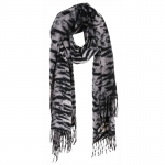 AO5044 Tiger Pattern Oblong Scarf w/Tassels, Black