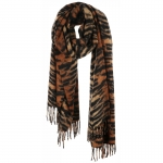 AO5044 Tiger Pattern Oblong Scarf w/Tassels , Brown