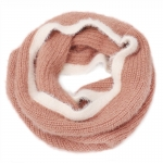AO5052 Soft Feel Two-tone Solid Color Infinity Scarf, Light Brown