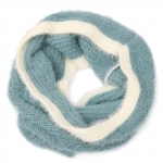 AO5052 Soft Feel Two-tone Solid Color Infinity Scarf, Teal