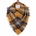 AO5055 Multi Check & Plaid Pattern Square Scarf, Mustard