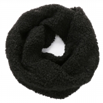 AO5060 Teddy Bear Feel Solid Color Infinity Scarf, Black
