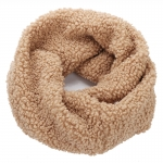 AO5060 Teddy Bear Feel Solid Color Infinity Scarf, Tan