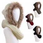 AO564 Knit Infinity W/Faux Fur Trim Hood