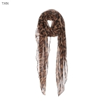 AO585 Leopard Pattern Light-weight Scarf, Tan