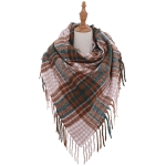 AO598 Square Double Checker Pattern Scarf with tassels, Brick