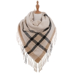 AO599 Square Checker Pattern Scarf with tassels, Beige