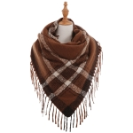 AO599 Square Checker Pattern Scarf with tassels, Brick