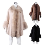 AO6004 Faux fur Trimmed Shawl Cape
