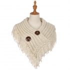 AO6040 Solid Color Knitted Infinity Scarf W/ Big Buttons, Beige