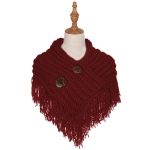 AO6040 Solid Color Knitted Infinity Scarf W/ Big Buttons, Burgundy