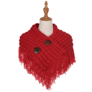 AO6040 Solid Color Knitted Infinity Scarf W/ Big Buttons, Red