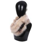 AO6067 Faux Fur Neck Warmer W/ Buckle, Beige