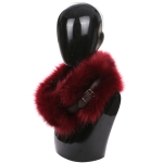 AO6067 Faux Fur Neck Warmer W/ Buckle, Burgundy
