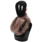 AO6067 Faux Fur Neck Warmer W/ Buckle, Tan