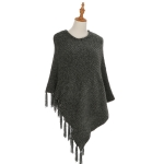 AO6069 Fringed Solid Poncho, Grey