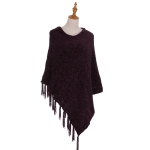 AO6069 Fringed Solid Poncho, Purple