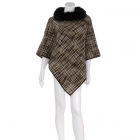 AO6081 Woven Check Pattern Poncho W/ Fur Collar, Olive