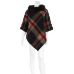 AO6082 Plaid Poncho W/ Fur Collar, Beige/Navy
