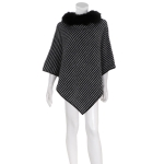 AO6085 Striped Poncho W/ Fur Collar, Black