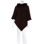 AO6085 Striped Poncho W/ Fur Collar, Burgundy
