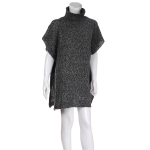 AO6093 Turtle Neck Poncho, Black