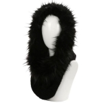 AO6096 Faux Fur Trimmed Neck Warmer, Black