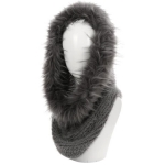 AO6096 Faux Fur Trimmed Neck Warmer, Grey