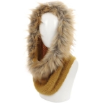 AO6096 Faux Fur Trimmed Neck Warmer, Mustard