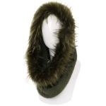 AO6096 Faux Fur Trimmed Neck Warmer, Olive
