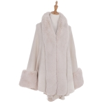 AO6110 Fur Trimmed Shawl with Sleeve, Beige