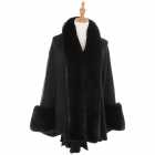 AO6110 Fur Trimmed Shawl with Sleeve, Black