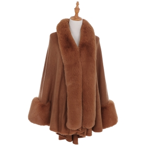 AO6110 Fur Trimmed Shawl with Sleeve, Brick