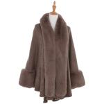 AO6110 Fur Trimmed Shawl with Sleeve, Khaki