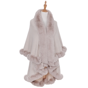 AO6111 Solid Faux Fur Trimmed Edge Shawl, Beige
