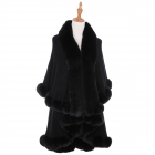 AO6111 Solid Faux Fur Trimmed Edge Shawl, Black
