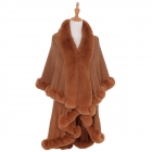 AO6111 Solid Faux Fur Trimmed Edge Shawl, Brick