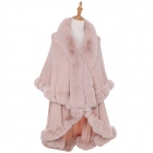 AO6111 Solid Faux Fur Trimmed Edge Shawl, Pink