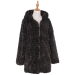 AO6133 Solid Color Fuzzy Jacket with Hood