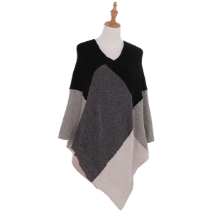 AO6135 Color Blocks Knitted Poncho, Black