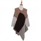 AO6135 Color Blocks Knitted Poncho,Khaki