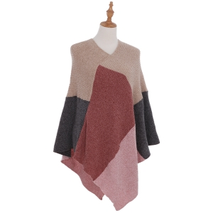 AO6135 Color Blocks Knitted Poncho, Pink