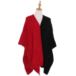 AO6136 Dual Colors Poncho, Black&Red