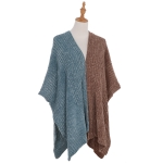 AO6136 Dual Colors Poncho, Brown&Blue