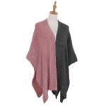 AO6136 Dual Colors Poncho, Pink&Grey