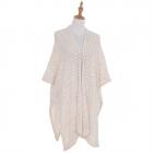 AO6140 Soft Knitted Net Mesh Cape, Beige
