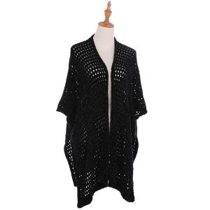 AO6140 Soft Knitted Net Mesh Cape, Black